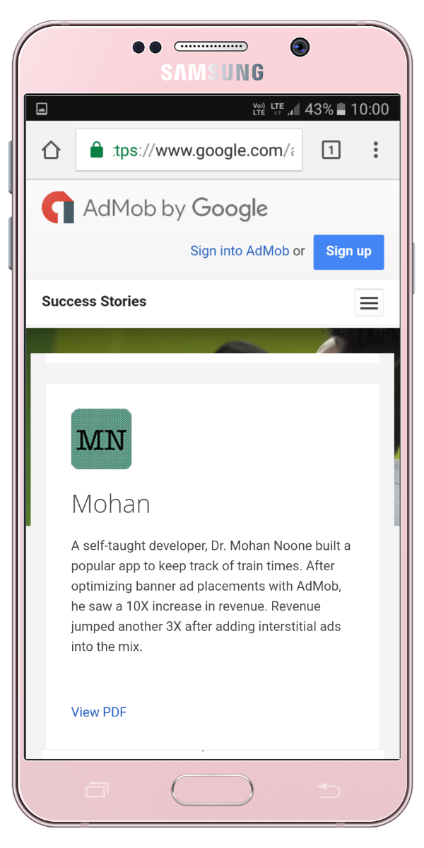 Featured in Google Admob Success Stories